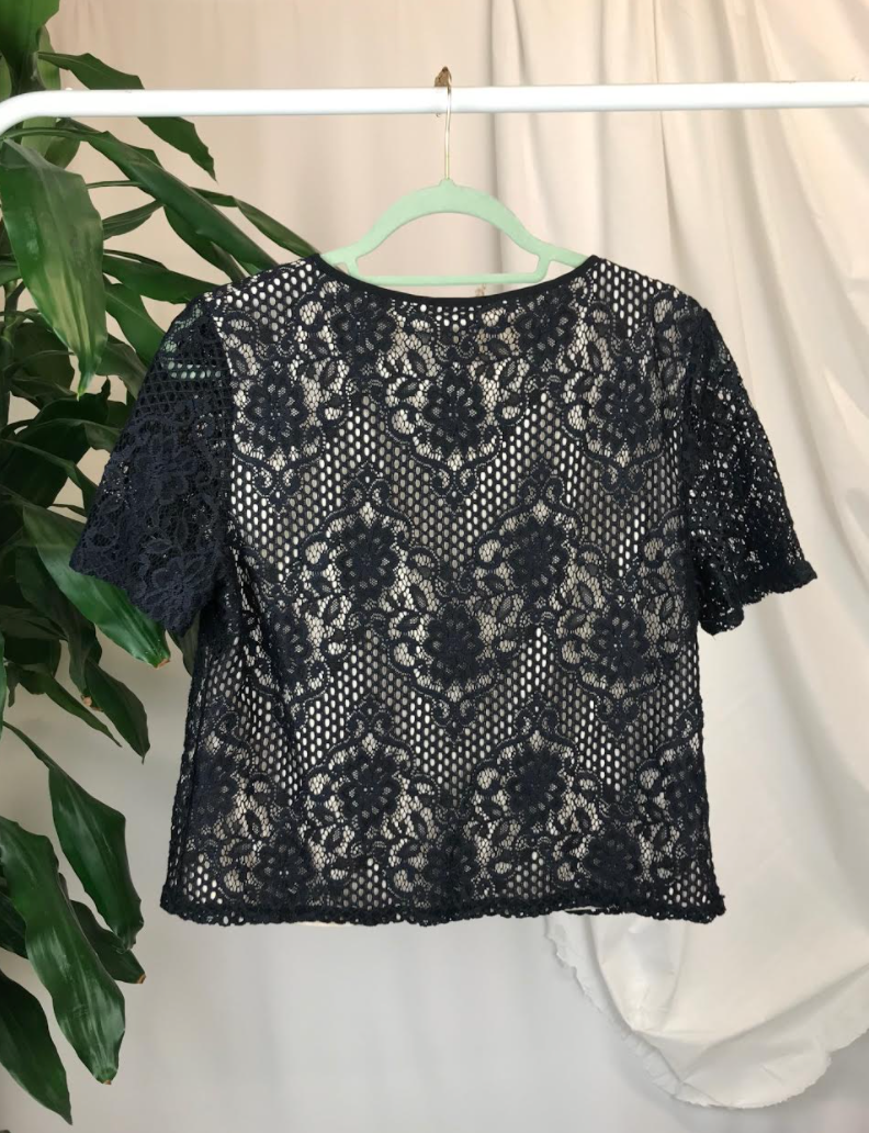 Warehouse Lace Overlay Top | Size 14