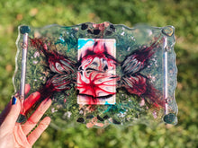 Load image into Gallery viewer, Custom Tower Manifesting Tray with Bloodstone, Black Obsidian, and Cherry Quartz
