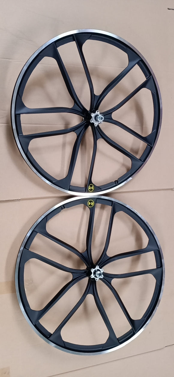 R4 Custom 26″ CNC BMX 10 Spoke Alloy Mag Wheels Complete Set W/ Drilled Hubs, Matte Black