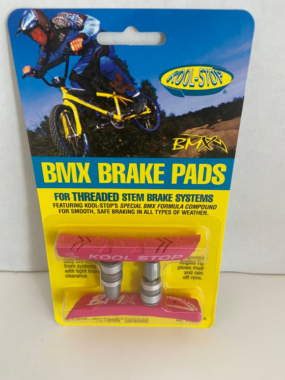 Kool Stop Bicycle BMX Threaded brake pads for V-brake Pink (PAIR)