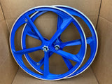 29″ BMX 5-Spoke CNC Alloy Rims Bicycle Sealed Wheel Set, Blue