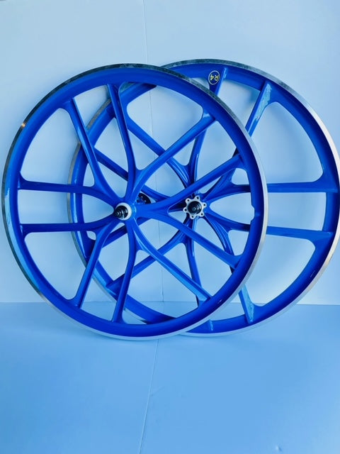 29″ BMX 10-Spoke CNC Alloy Rims Bicycle Sealed Wheel Sets, Blue