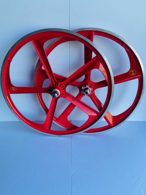 24″ CNC BMX Cruiser 5-Spoke Alloy Rims Bicycle Sealed Wheel Set, Ferrari Red