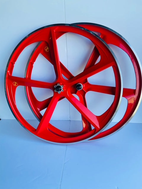 29″ BMX CNC 5-Spoke Alloy Rims Bicycle Sealed Wheelset, Red