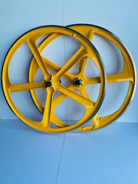 29″ CNC BMX Cruiser 5-Spoke Alloy Rims Bicycle Sealed Wheel Set, Yellow