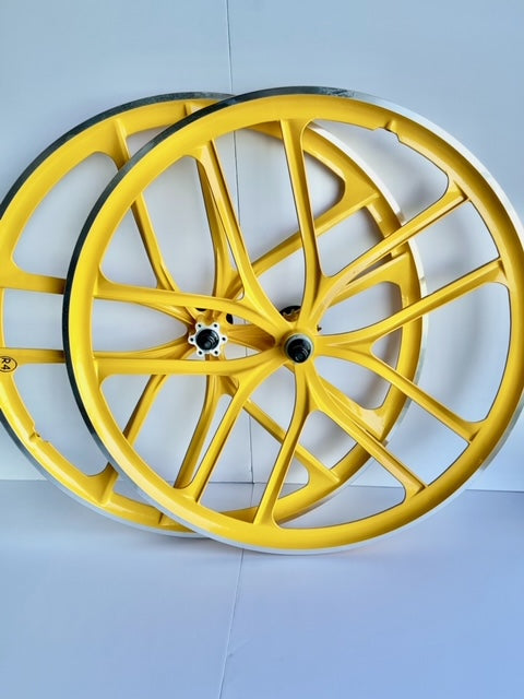 29″ BMX 10-Spoke CNC Alloy Rims Bicycle Sealed Wheel Sets, Yellow