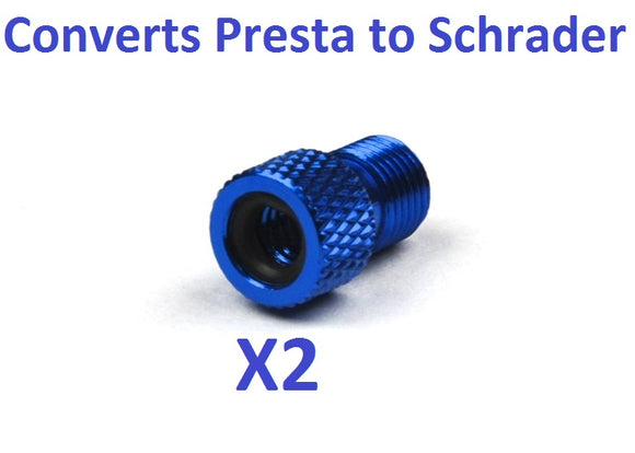 New BLUE 2pcs Presta Valve Adaptor converts to schrader tire tube convert