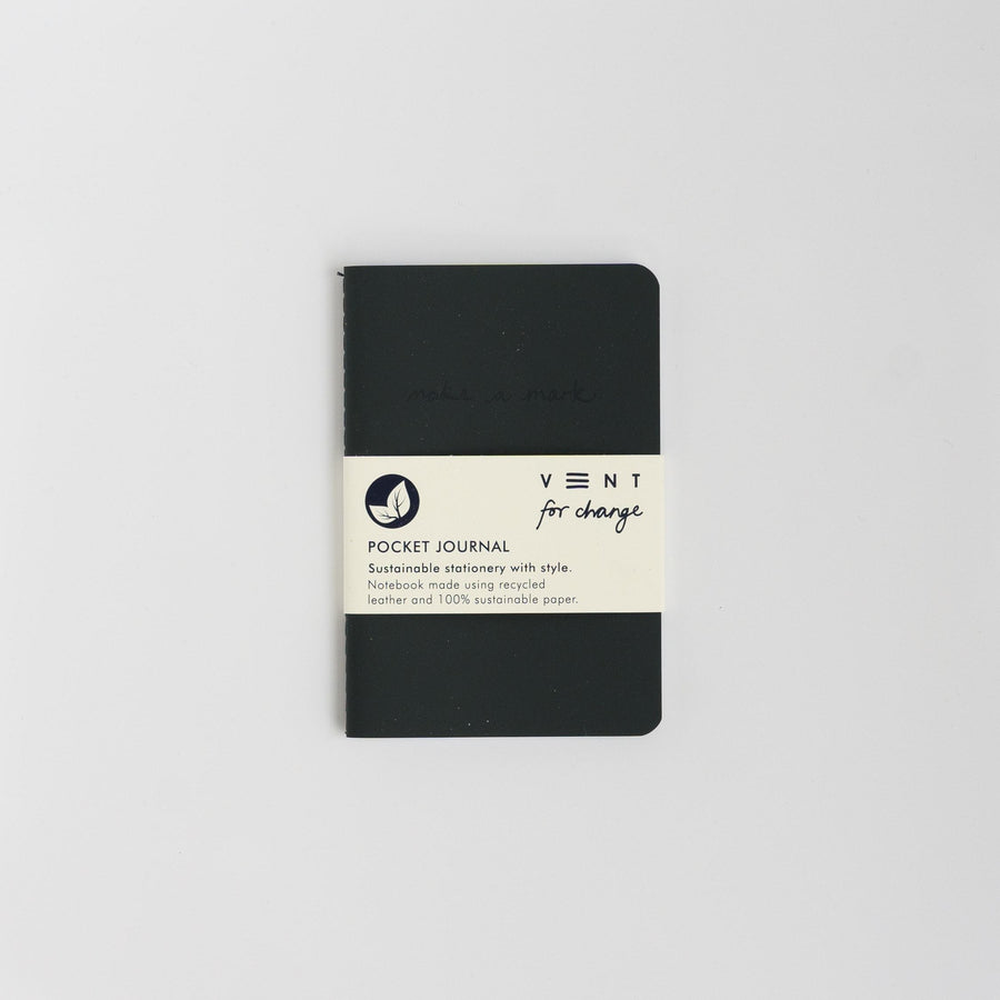 Recycled Leather Pocket Journal - Charcoal
