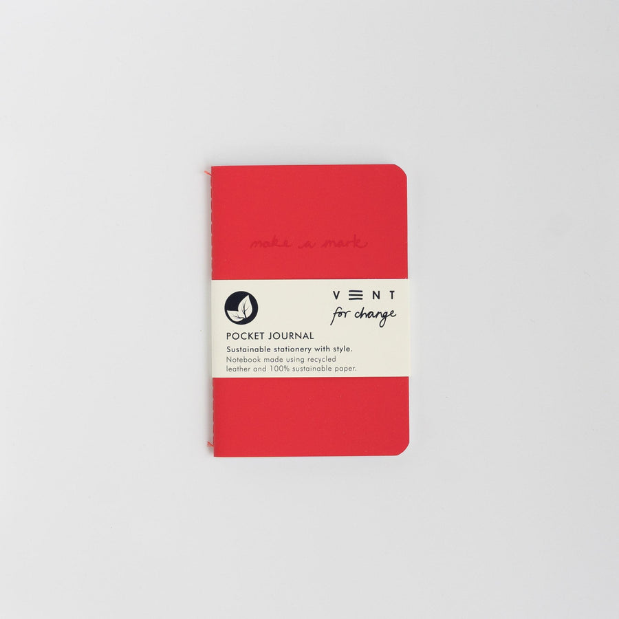 Recycled Leather Pocket Journal - Red