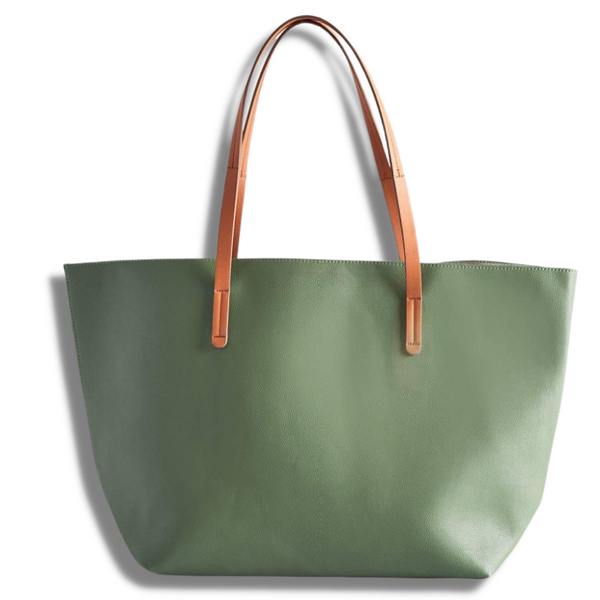 Vegan Leather Tote - Army Green