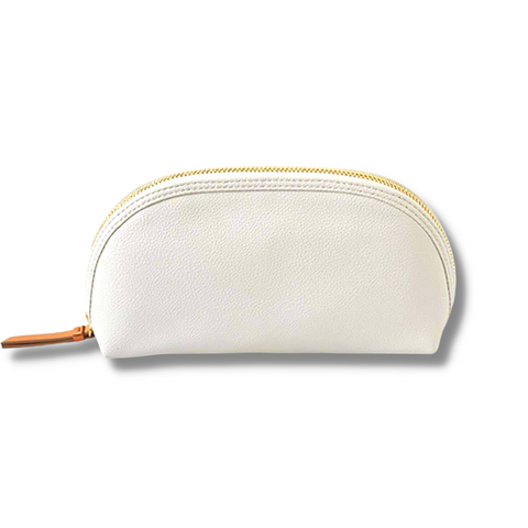 Vegan Leather Cosmetic Pouch- Gray