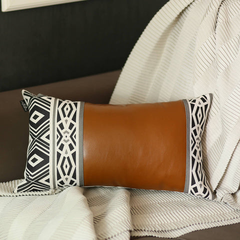 Vegan Leather Lumbar Pillow Cover
