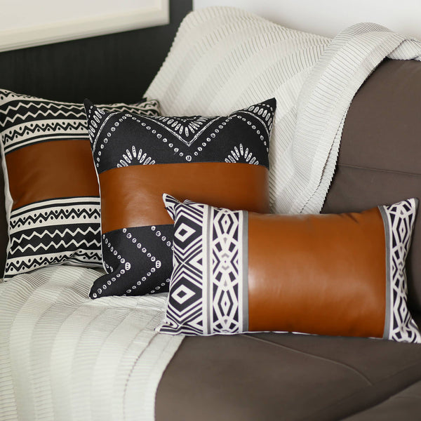 "Vegan Leather Lumbar Pillow Cover 12"" x 20"""