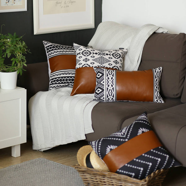 Vegan Leather Pillow Cover Square