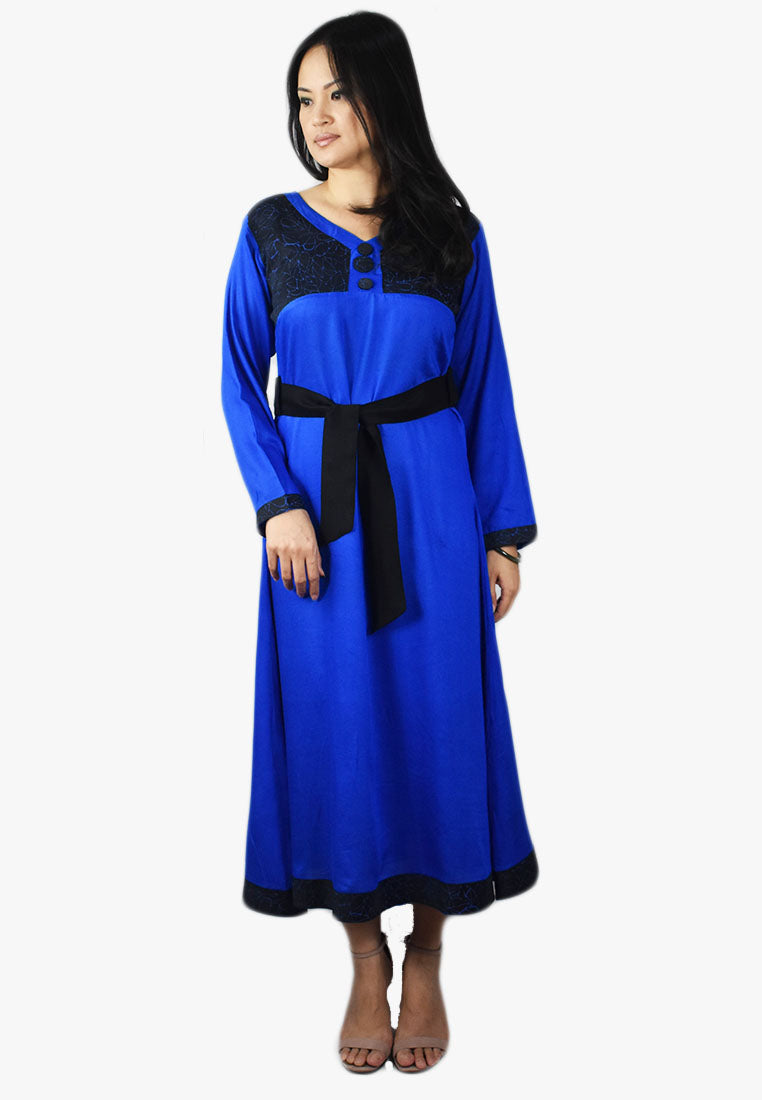 Blue and Black Dress with Belt