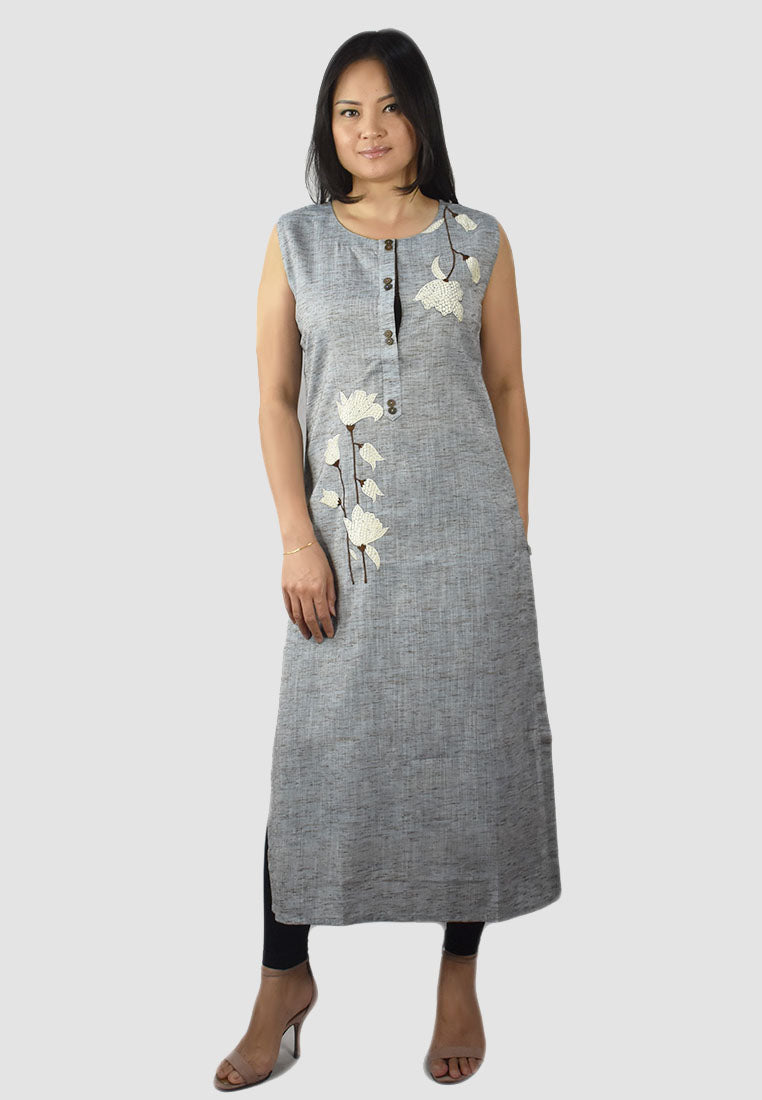 Grey Kurti with White Embroidery