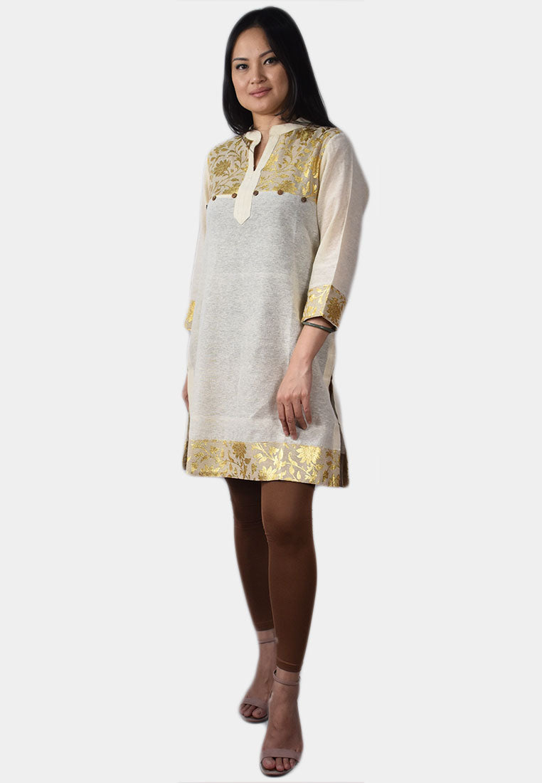 Khadi Tunic Top with Gold Foil