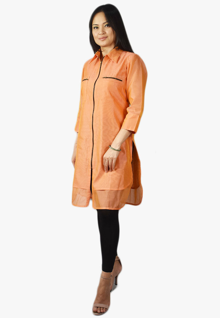 Orange Tunic with Zipper