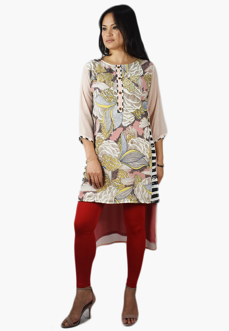 Pink Floral Printed Tunic with Black and White Placket