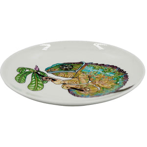 Colorfull Cameleon. Wood-fired hand painted porcelain Plate.