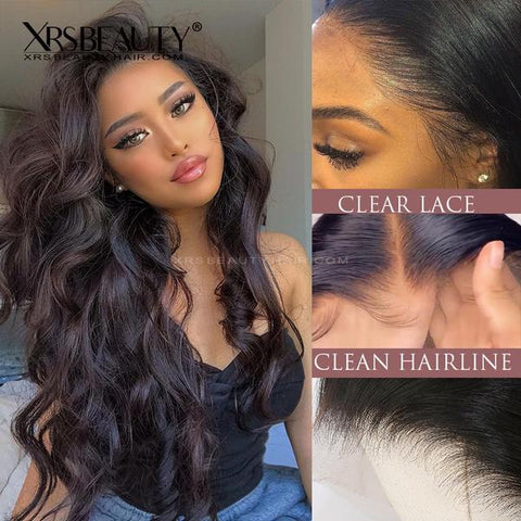 13x6 Undetectable Skin Melt New Clear Lace Front Human Hair Wig LFW12