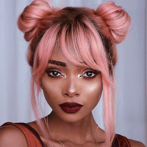 how to style a wig - space buns style