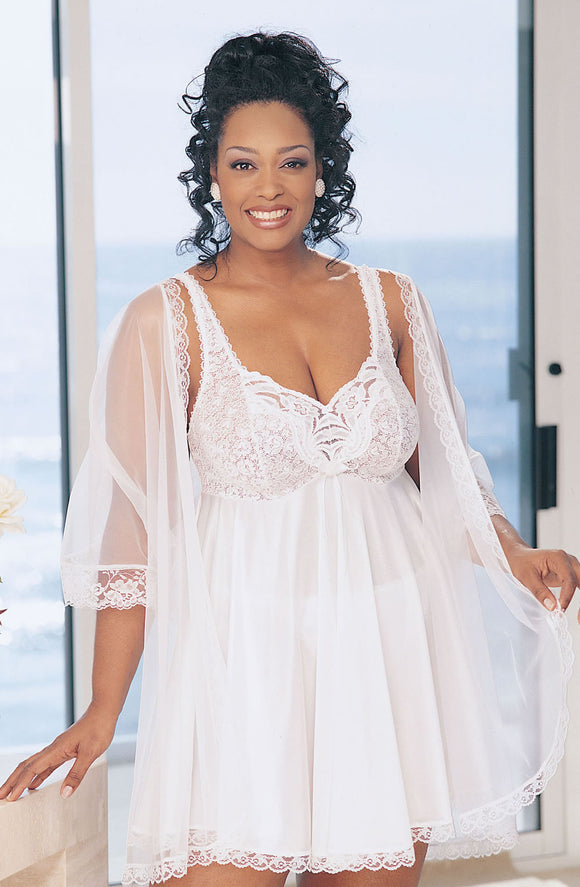 Plus Size Lace Babydoll White
