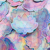 Mental Health Lotus Holographic Sticker