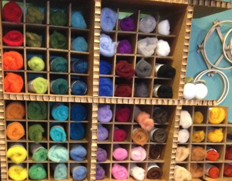 Colored 1 ounce Needle Felting Wool Batts