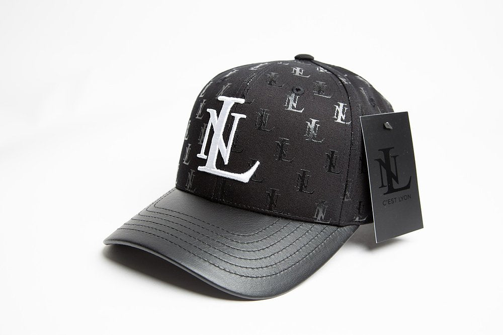 Black Baseball Cap LN All-over print with Leather