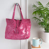 Metallic Magpie Genuine Leather Alice Tote Bag #LB901 Pink