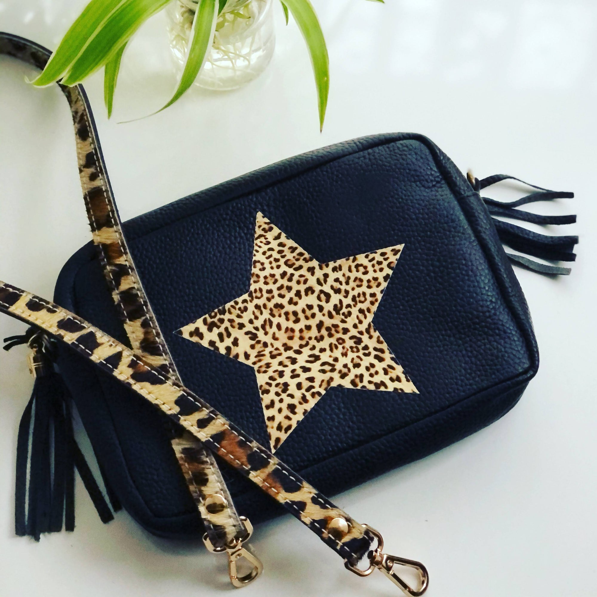 Leopard Star Camera Kylie Pebbled Leather Crossbody Clutch Bag