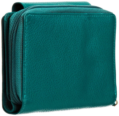 Pratico - women leather flap wallet #LW02 Green