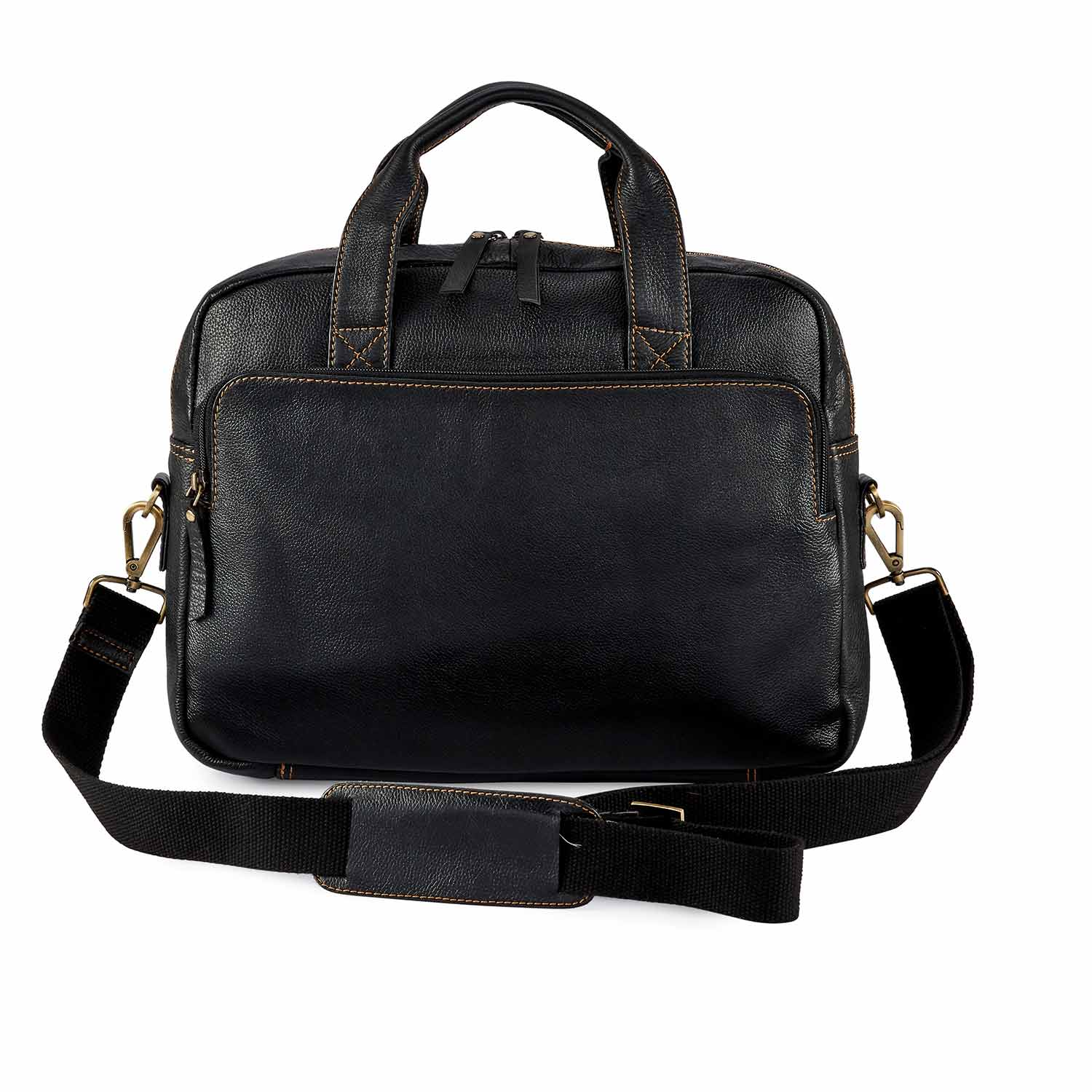 Black Pebbled Leather Compact Laptop Bag