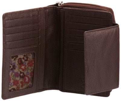 Pratico - women leather flap wallet #LW02 Brown