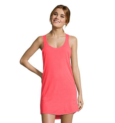 Summer Day Dress Beach Cover Up Long T Shirt Neon Coral LTS-01701