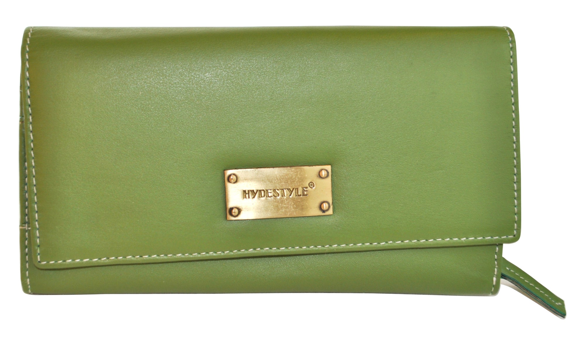 Pratico - women full Flap Leather Wallet #LW07 Green