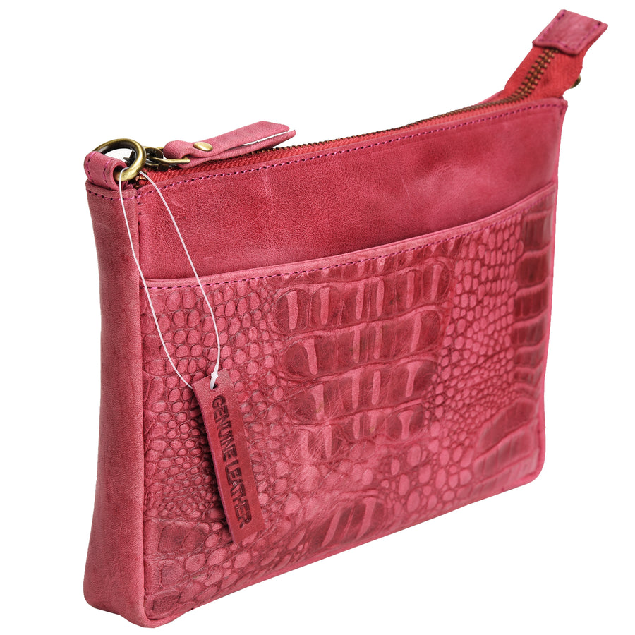Croc Vipera Leather Clutch #LB575 Pink