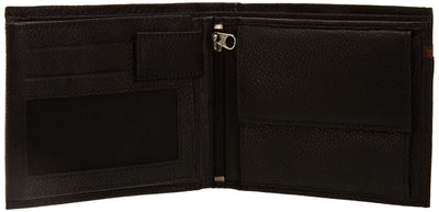 Pratico - mens 17 card leather trifold wallet #GW50 Black