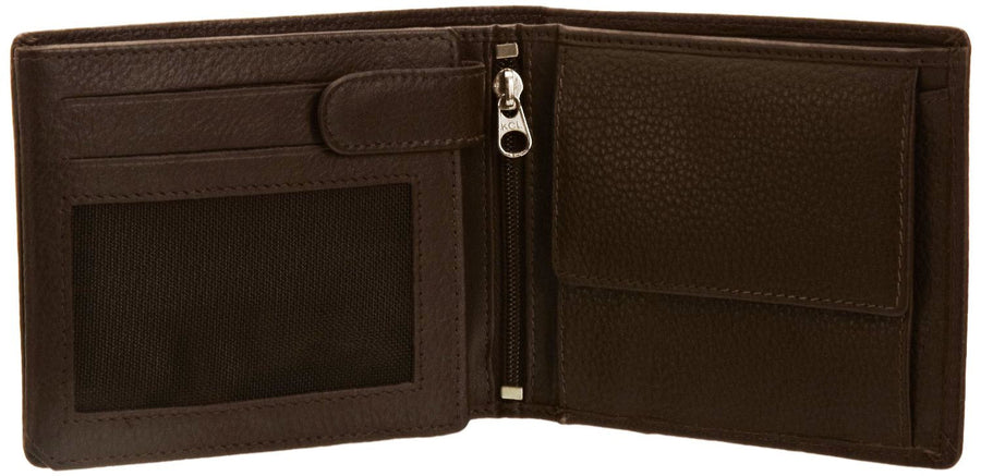 Pratico - mens 17 card leather trifold wallet #GW50 Brown