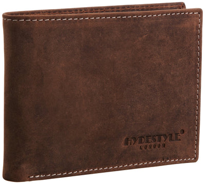 Venator distressed leather trifold tab coin wallet #GW67 Brown
