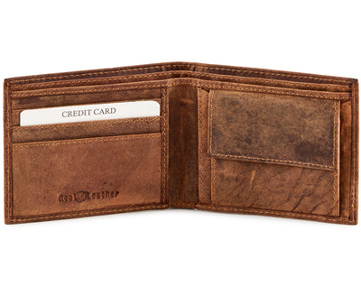 Genuine Leather Distressed Leather Coin Wallet #702