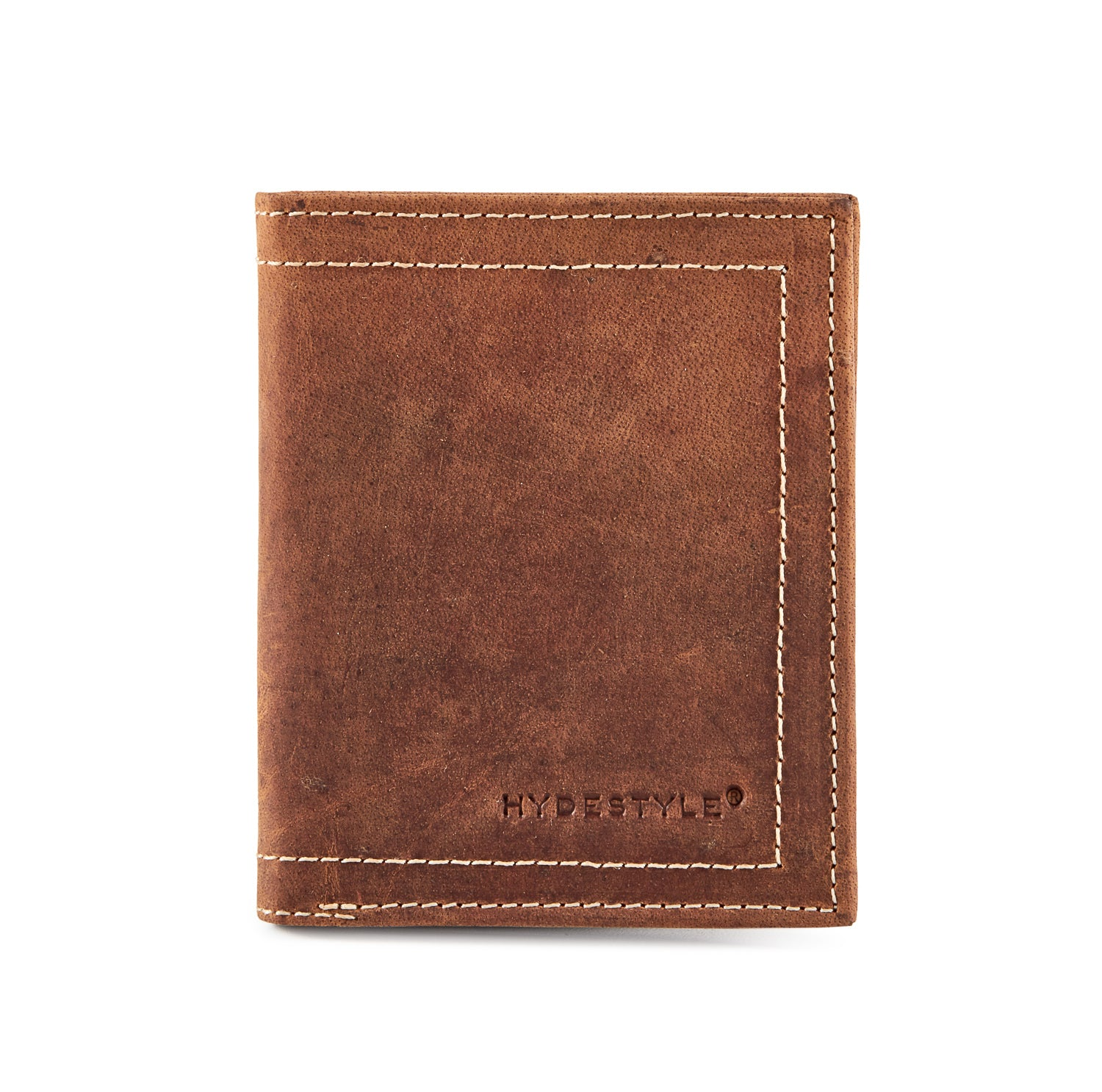 Distressed leather men's bi-fold coin wallet #GW704