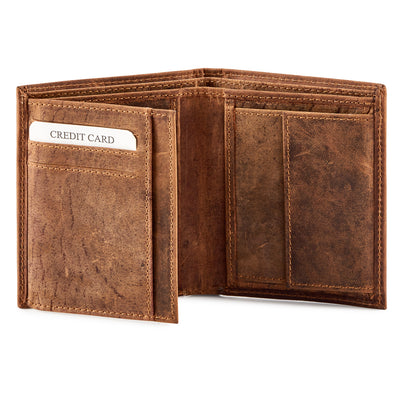 Personalised Distressed leather bi-fold ID and coin wallet #GW704