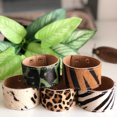 Leather Pony Hair Cuff / Bracelet - Zebra