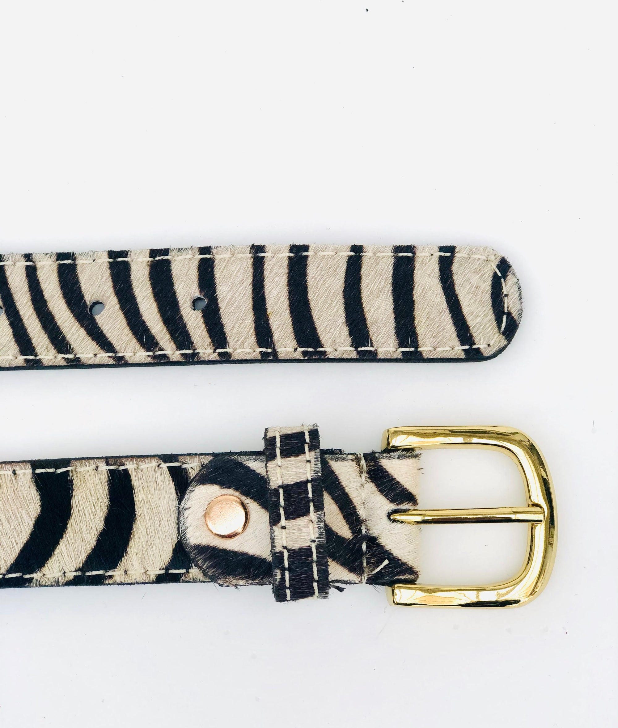 Zebra hair-on-hide leather womens belt