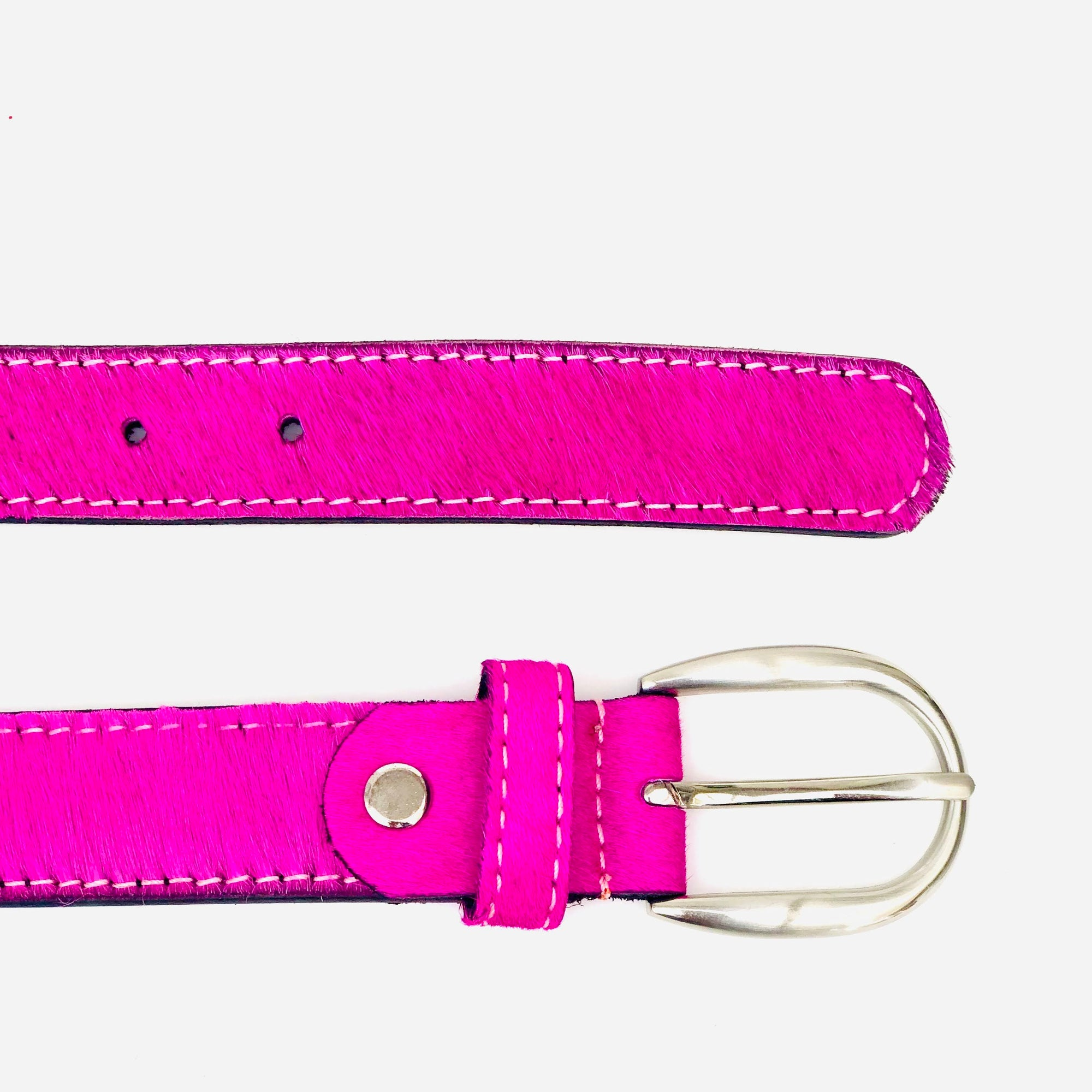 Neon Pink hair-on-hide womens leather belt