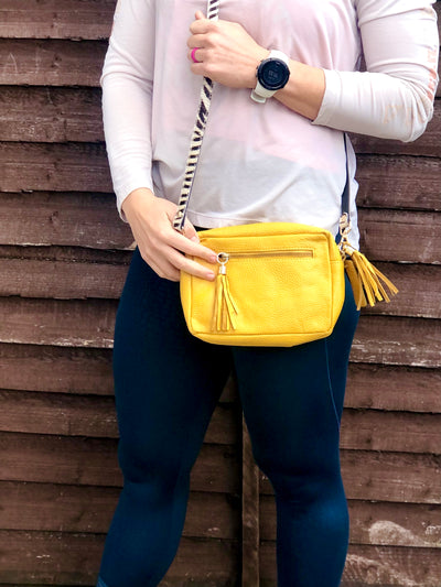 Mustard Yellow Kylie Pebbled Leather Camera Clutch Bag