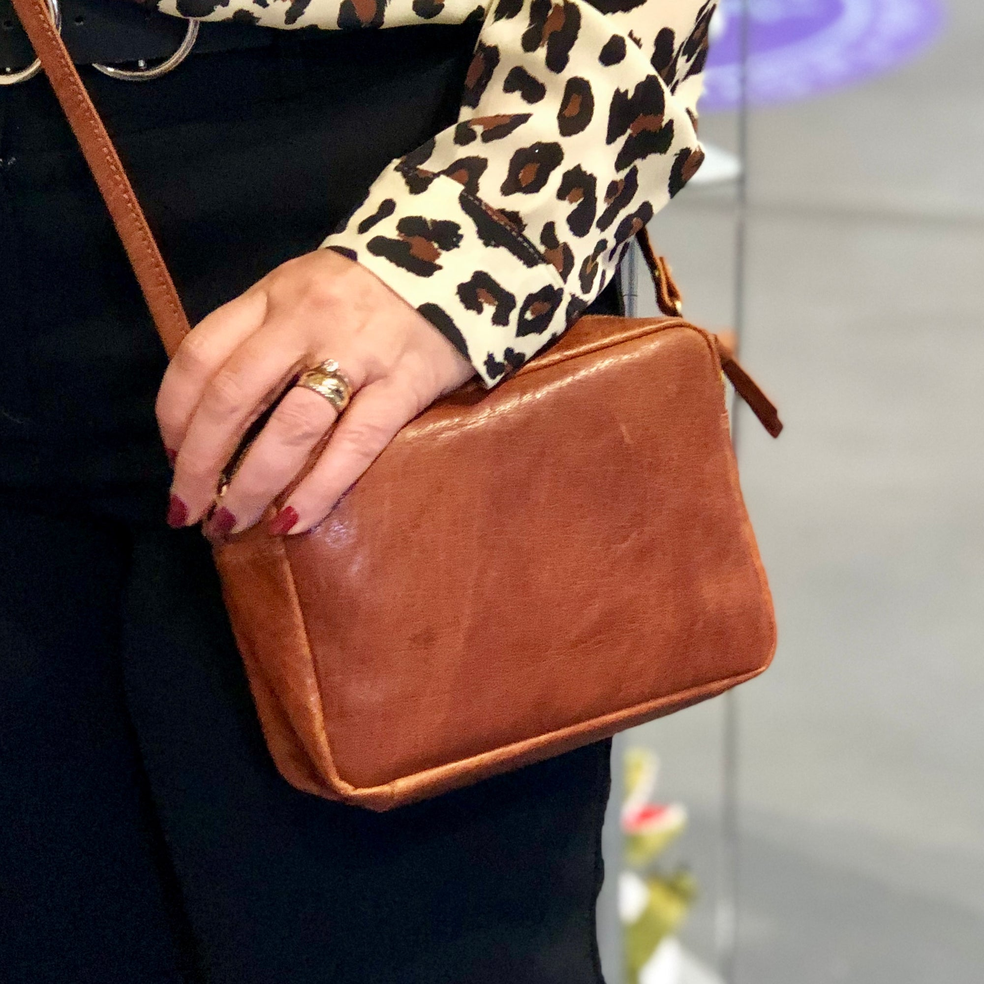Maggie Genuine Leather Box Clutch #LB603