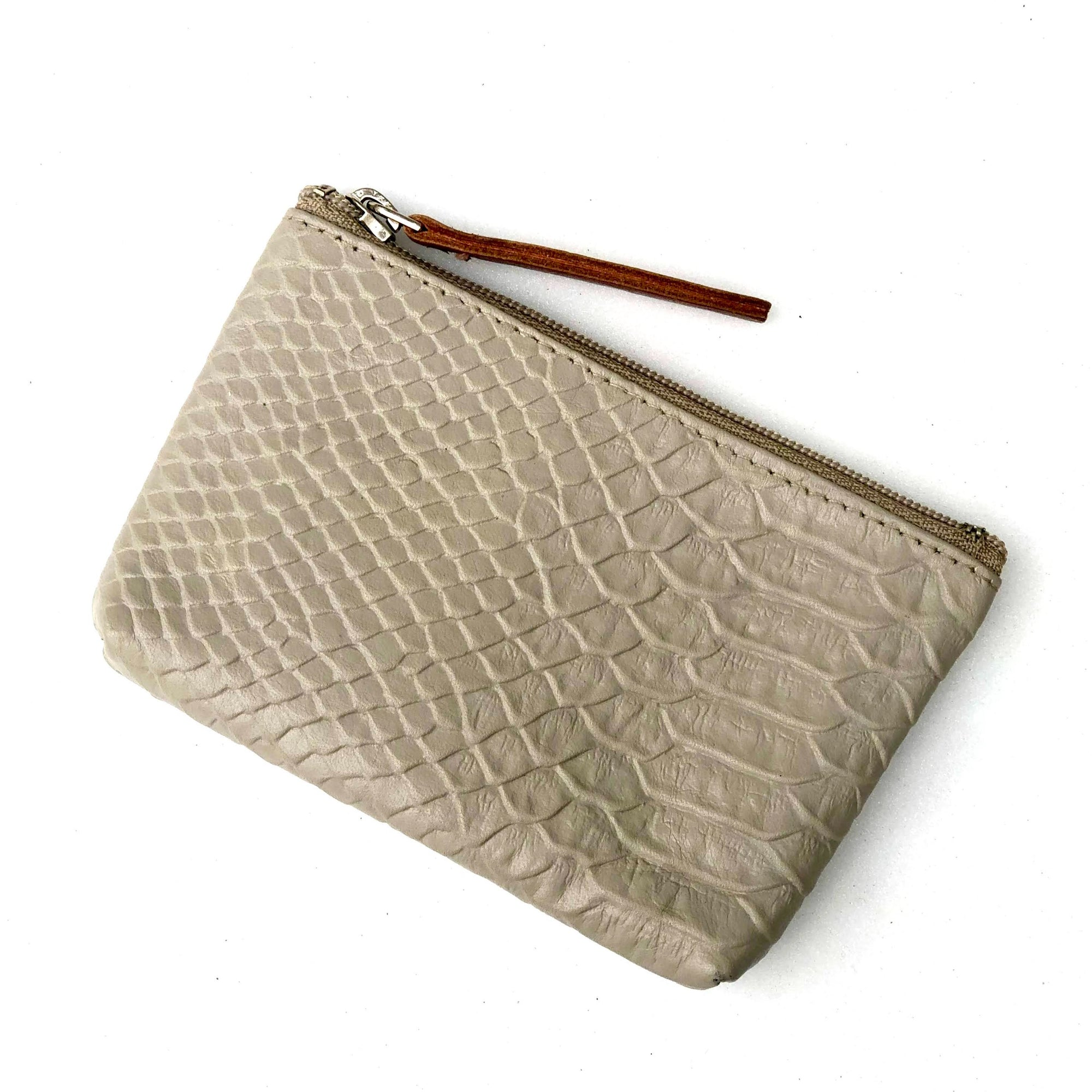Soft Grey Snake Embossed Leather Card Coin Purse with Key Rings